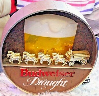 Vintage Rare Light-Up Budweiser On Draught Clydesdale Barrel 17""