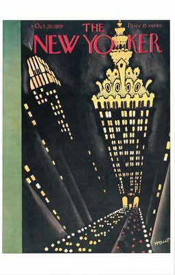 Park Avenue Viaduct at Night NYC on 1929 The New Yorker Magazine Postcard