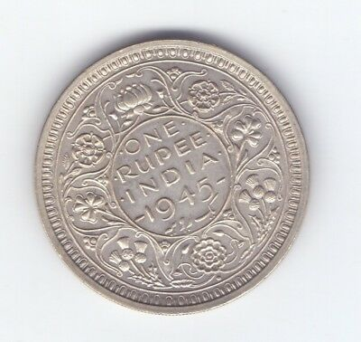 1945 M LARGE 5 British India GEORGE VI King silver One Rupee coin