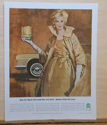 1962 magazine ad for Quaker State Oil - For those who want the best, Deluxe oil