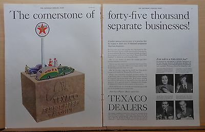 1937 two page magazine ad for Texaco, Cornerstone of 45,000 Businesses, colorful