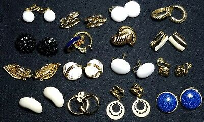 16 PR Vintage to Now Signed Clip On Earrings Gold Tone Jewelry Lot 14K