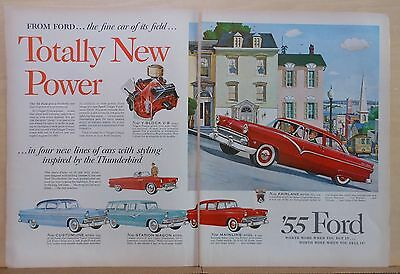 1955 two page magazine ad for Ford - 4 new lines of cars with Thunderbird Style