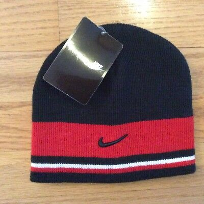 NIKE Kid's Knit Winter Hat Cap Beanie *Size 4-7* Black & Red NEW w/tag