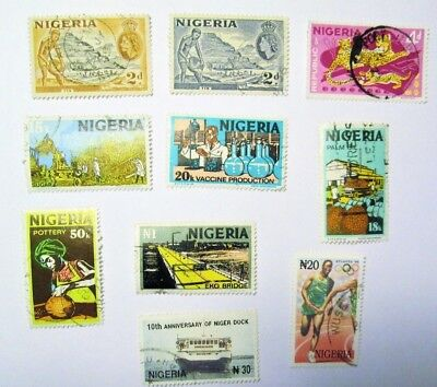 NIGERIA, 1956 - , Lot of (10) Used Stamps, Not Hinged