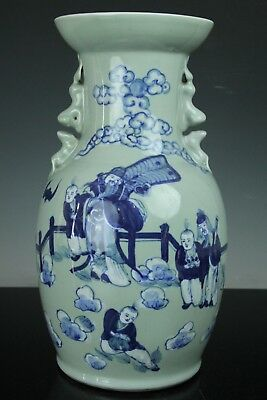 Aug136F Chinese Antique Blue&celadon Porcelain Vase Vessel Pot Hand Painted