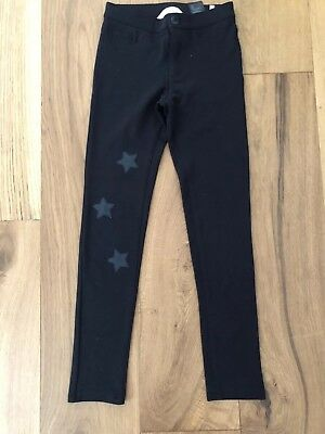 H&M Girls Pull On Treggings Age 10-11 Years Good Condition Black With Stars
