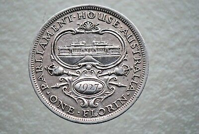 1927 FLORIN--PARLIAMENT--GEORGE V--92.5% SILVER -in 2x2 HOLDER--NO RESERVE