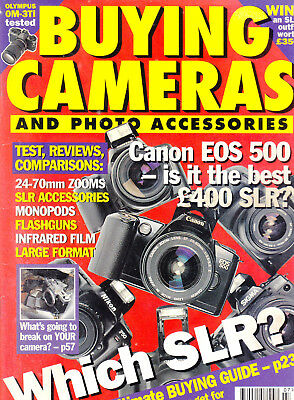 Buying Cameras magazine ,  July  1995   with  Olympus OM-3Ti    tested