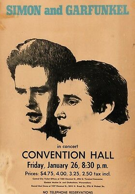 """Simon and Garfunkel Convention 16"""" x 12"""" Photo Repro Concert Poster"""