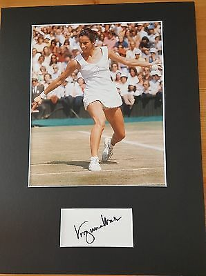 "Virginia Wade Wimbledon champ 16"" x 12"" MOUNTED AUTOGRAPH"