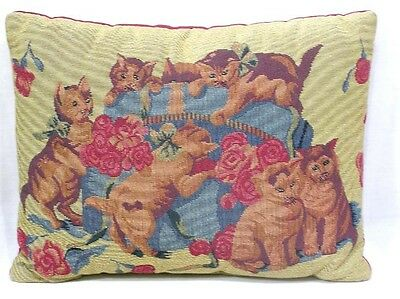 Vintage Throw Pillow Six Cats and a Box of Red Roses Adorable!