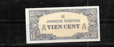 Netherlands Indies #121C Unc Mint Old 10 Cent 1942 Wwii Banknote Paper Money