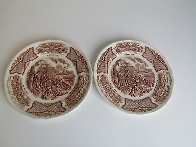 (2) pc. Lot of Saucer/Bread & Butter Dishes Fair Winds Original Copper & Engrave