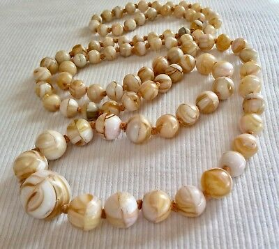 Vintage Art Deco Style Czech Caramel & Cream Glass Agate Knotted Bead Necklace