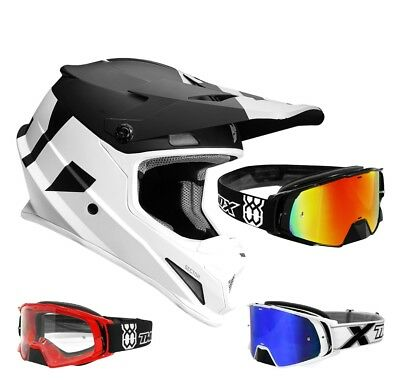 Thor Sector Level Crosshelm Motocross Helm weiss schwarz TWO-X Rocket MX Brille