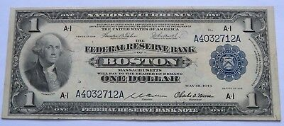 1914 $1 National Currency Note, Boston Federal Reserve Bank Bill washed (010955R
