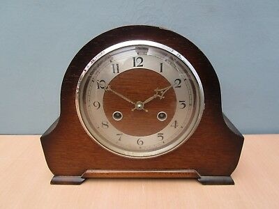 Vintage Wooden Chiming Mantle Clock With Perivale Movement