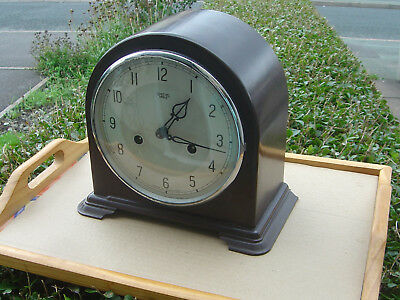 SMITHS ENFIELD  BAKELITE STRIKING MANTEL CLOCK WITH KEY WORKS vgc