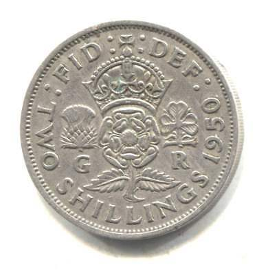 Great Britain 1950 Two Shilling Coin United Kingdom England - King George VI
