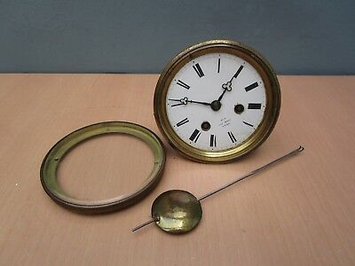 Vintage Henry Marc  A Paris Bell Strike Clock Movement With Rear Glass Door