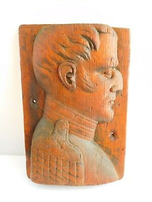 19Th Century Carved Wooden Plaque - Napoleon ??