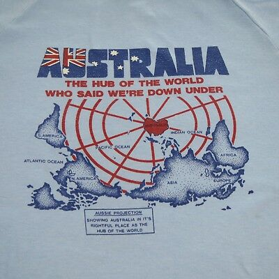 AUSTRALIA HUB OF THE WORLD - VINTAGE 80's T-SHIRT - 105cm - M - MADE IN AUST