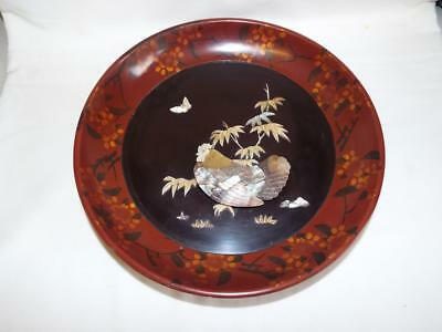 Japanese red lacquer plaque with Shibayama Mother of Pearl decoration.