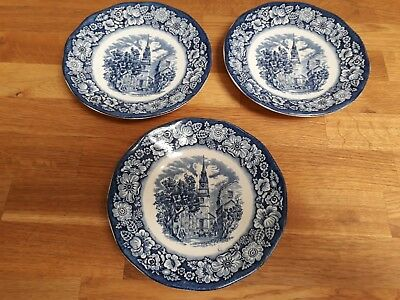 Trio Vintage Saucer Plates Liberty Blue Historic Colonial Scenes Old North Churc
