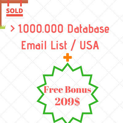 More Than 1 Milion Email Database USA Email Marketing List + FREE BONUS 209$