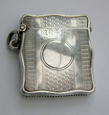 Antique solid silver shaped vesta case 1907 for watchchain