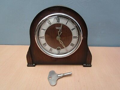 Vintage Small Wooden Smiths Enfield Mantle Clock With Key