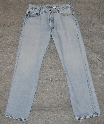 vintage LEVI'S 501 CLASSIC JEAN Button Fly Faded Distressed Denim 34 x 30 Jeans