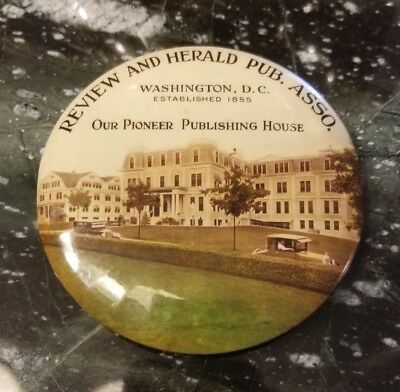 Advertising S. D. A. Review and Herald Pub. Pocket Mirror Takoma Park, MD c1920s