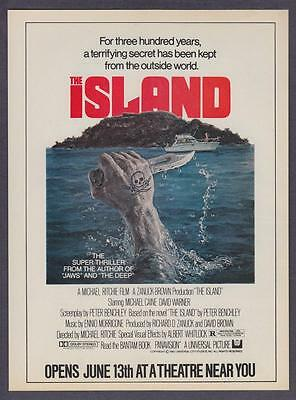 """1980 Peter Benchley Michael Caine """"The Island"""" Movie promo print ad"""