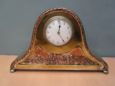 Vintage French Brass & Copper Napoleon Hat Mantle Clock With Cherub Design