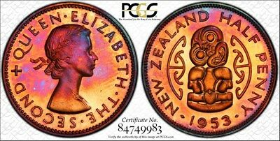 1953 New Zealand PCGS PR65RB Colorful Toned Proof 1/2D w/TrueView (gm689)