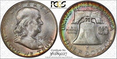 1958 d PCGS MS66 Gem Colorful Toned Franklin Half Dollar w/ TrueView (mb1636)
