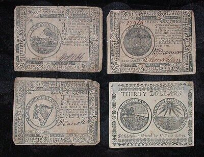 4 Different Pieces Average Circulated Continental Currency $6,$7,$8,$30 rb1914