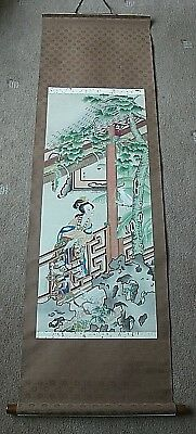 Chinese /oriental Hand Painted Wall Hanging Scroll Lady On Balcony Bird In The T