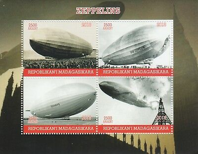 Madagascar 7707 - 2018  AIRSHIPS - ZEPPELINS  perf sheet of 4 unmounted mint