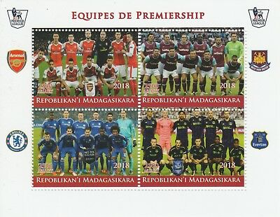 Madagascar 7709 - 2018  FOOTBALL TEAMS #1  perf sheet of 4 unmounted mint