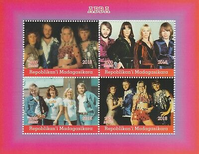 Madagascar 7713 - 2018  ABBA  perf sheet of 4 unmounted mint
