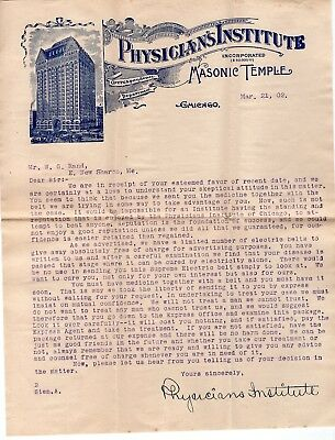 1902 Physicians Institute Letter to Angry Customer re: Eletric Healing Belt