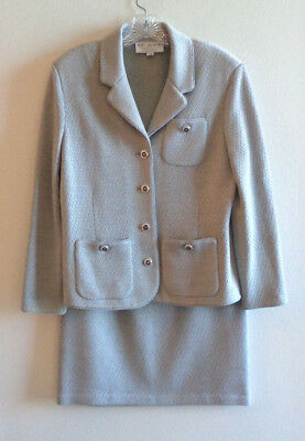 St John Collection by Marie Gray 10 Gray Knit Jacket Skirt Suit