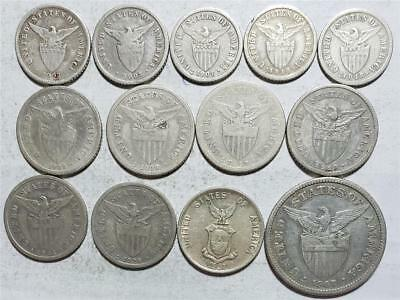 Philippines, 10, 20 & 50 Centavos 1903-1937, 13 Pieces, 1.217 Ounces Silver