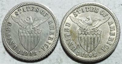 Philippines 10 Centavos 1908S, 1 Extra Fine+ & 1 XF w/Hairlines, .0964 Oz Silver