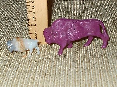 "2 Miniature Plastic Buffalo Bison - 1 3/8"" Tall & 3/4"" Tall"