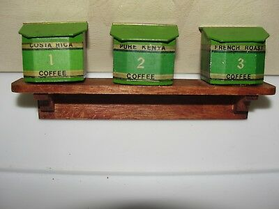 Dollhouse Miniature 3 Coffee Bins on Shelf -  England