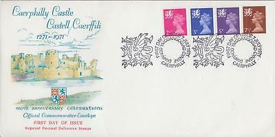GB 1971 Regional Decimal Stamps, Caerphilly Castle illustrated Official FDC